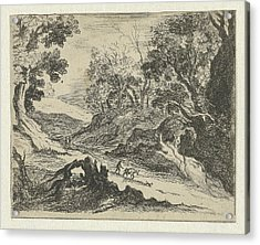 Hilly Landscape With A Donkey Herder, Anna Maria De Koker Acrylic Print