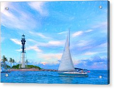 Hilsboro Lighthouse Colored Pencil Acrylic Print by Michael  Wolf