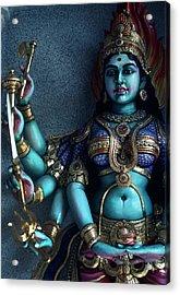 Hindu Goddess Kali On Hindu Temple Acrylic Print by Carl Purcell