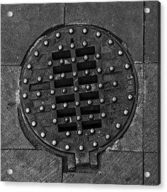 Hinged Manhole Cover Acrylic Print by Lynn Palmer