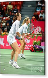 Hingis And Kirilenko In Doha Acrylic Print by Paul Cowan