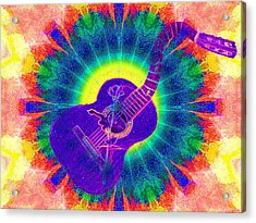 Hippie Guitar Acrylic Print by Bill Cannon