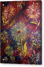 Acrylic Print featuring the painting Hippy Flowers by Nico Bielow