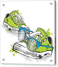 Hipster Sneakers With Glasses Vector Acrylic Print by Vitaly Grin