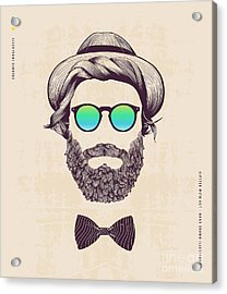 Hipster With Hat And Jazz-bow Acrylic Print by Blau Ananas