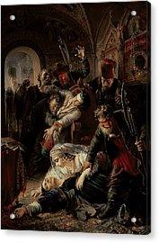 Hired Assassins Killing Tzar Boris Fyodorevich Godunov's Son Acrylic Print by Konstantin Egorovich Makovsky