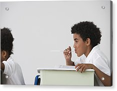 Hispanic Boy Blowing Spitball On Girl In Class Acrylic Print by Jose Luis Pelaez Inc
