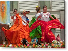 Hispanic Women Dancing In Colorful Skirts Art Prints Acrylic Print