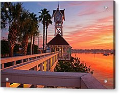 Historic Bridge Street Pier Sunrise Acrylic Print by HH Photography of Florida