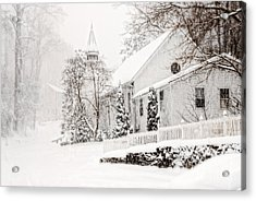 Acrylic Print featuring the photograph Historic Church In Oella Maryland During A Blizzard by Vizual Studio