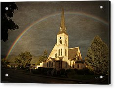 Historic Methodist Church In Rainbow Light Acrylic Print