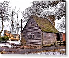 Historic Plymouth Ma Harbor Acrylic Print by Janice Drew