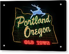 Historic Portland Oregon Old Town Sign Acrylic Print