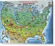 Historic Route 66 Cartoon Map Acrylic Print