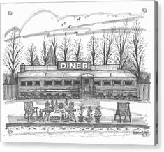 Acrylic Print featuring the drawing Historic Village Diner by Richard Wambach