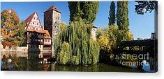 historic winestorage and executioner bridge in Nuremberg Acrylic Print by Rudi Prott