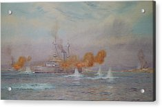 H.m.s. Albion Commanded By Capt. A. Walker-heneage Completing The Destruction Of The Outer Forts Acrylic Print