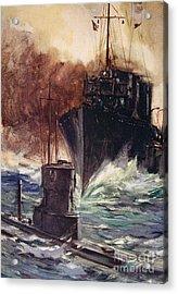 Hms Badger Ramming A German Submarine Acrylic Print by Cyrus Cuneo