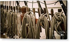 Hms Bounty Riggins And Ropes Acrylic Print