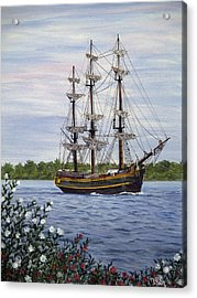 Hms Bounty Acrylic Print by Vicky Path