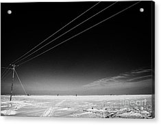 Hoar Frost Covered Electricity Transmission Lines Snow Covered Prairie Agricultural Farming Land Wit Acrylic Print by Joe Fox