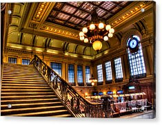 Hoboken Terminal Acrylic Print by Anthony Sacco