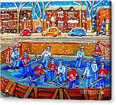 Hockey Art Collectible Cards And Prints Snowy Day  Neighborhood Rinks Verdun Montreal Art C Spandau Acrylic Print by Carole Spandau
