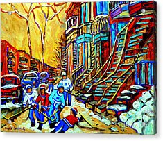 Hockey Art Montreal Winter Scene Winding Staircases Kids Playing Street Hockey Painting  Acrylic Print by Carole Spandau