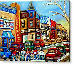 Hockey Art Montreal Winter Street Scene Painting Chez Vito Boucherie And Fairmount Bagel Acrylic Print by Carole Spandau