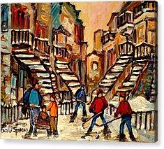 Hockey Game Near Winding Staircases Montreal Streetscene Acrylic Print by Carole Spandau