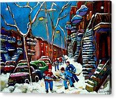 Hockey Game On De Bullion Montreal City Scene Acrylic Print by Carole Spandau