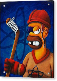 Hockey Homer Acrylic Print by Marlon Huynh