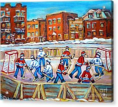 Hockey In The City Ndg Outdoor Hockey Rink Neighborhood Kids Bring Montreal Memories To Life Acrylic Print by Carole Spandau