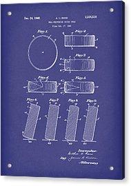 Hockey Puck Patent Art Blue Acrylic Print by Prior Art Design