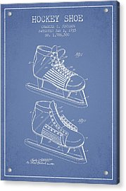 Hockey Shoe Patent Drawing From 1935 - Light Blue Acrylic Print