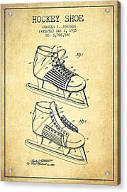 Hockey Shoe Patent Drawing From 1935 - Vintage Acrylic Print