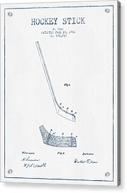 Hockey Stick Patent Drawing From 1901 - Blue Ink Acrylic Print