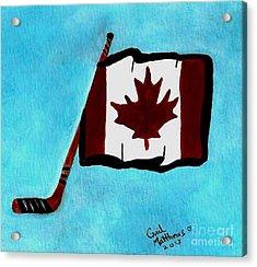 Hockey Stick With Canadian Flag Acrylic Print by Gail Matthews