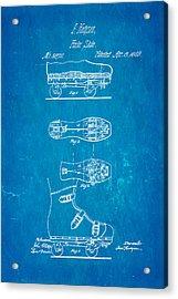 Hodgson Roller Skate Patent Art 1869 Blueprint Acrylic Print by Ian Monk