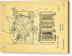 Hoe Printing Press Patent Art 2 1847  Acrylic Print by Ian Monk