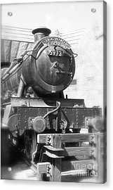 Hogwarts Express Train Closeup Black And White Acrylic Print