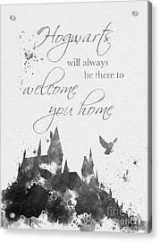 Hogwarts Quote Black And White Acrylic Print by Rebecca Jenkins
