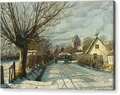Hoje Taastrup Church Outside Copenhagen Acrylic Print by Peder Monsted