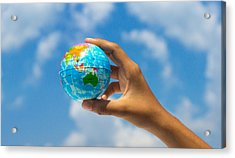 Holding A Globe Acrylic Print by Aged Pixel