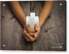 Holding A Religious Cross Acrylic Print