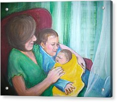 Holding His New Baby Brother Acrylic Print by Martha Suhocke