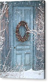 Barn Door And Holiday Wreath/digital Painting Acrylic Print