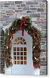 Acrylic Print featuring the photograph Holiday Door Wreath by Ann Murphy