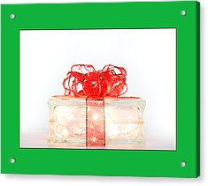 Holiday Glass Gift Box With Red Bow Acrylic Print by Jo Ann Tomaselli