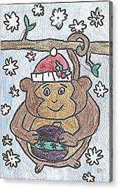 Holiday Monkey Acrylic Print by Fred Hanna